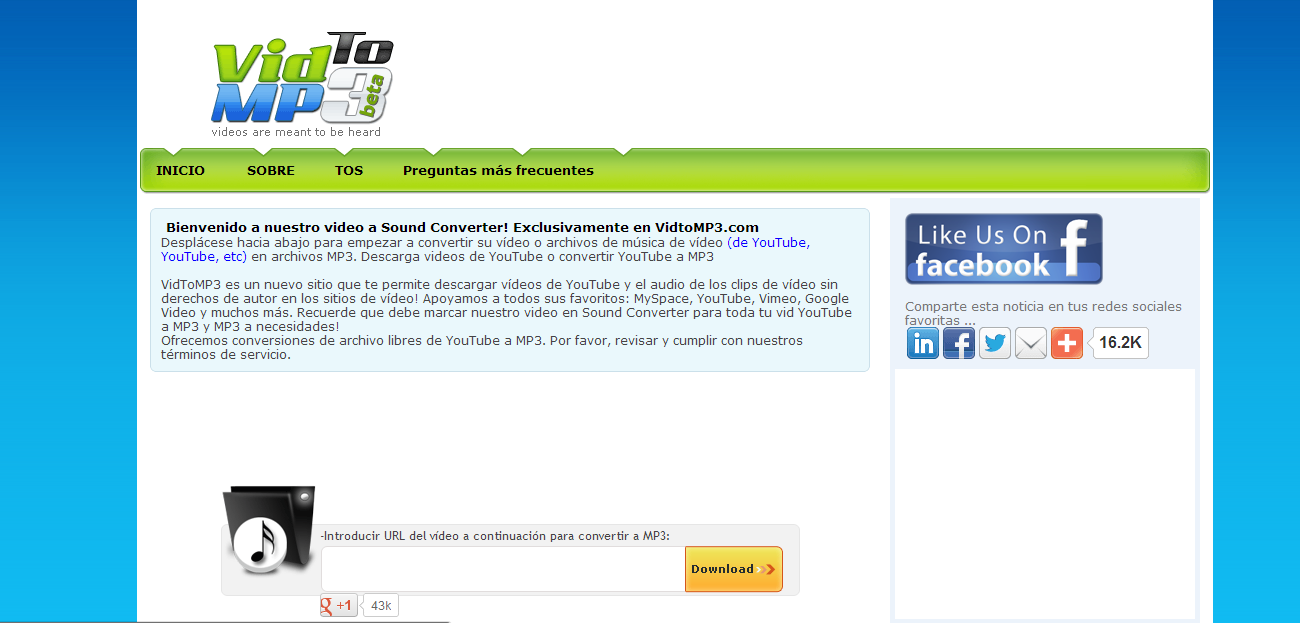 convertidor de youtube a mp3 y video