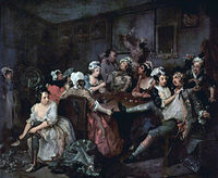 1735 - La Orgía -  William Hogarth.