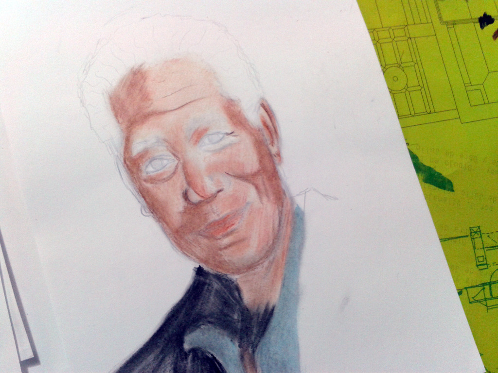 morgan freeman en oil pastel